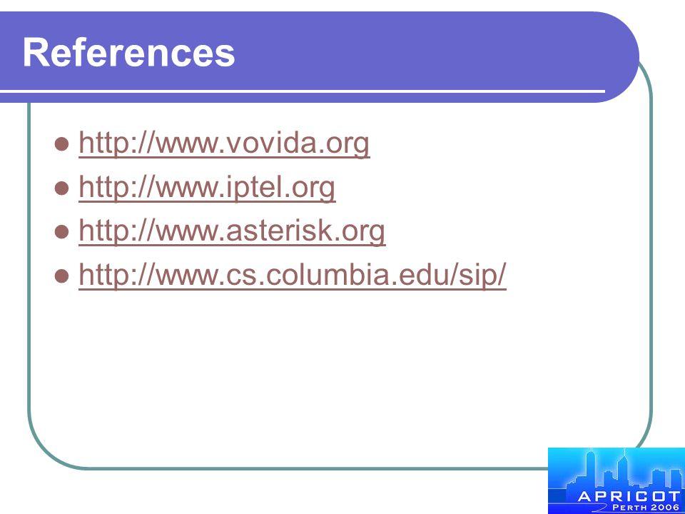 References http://www.vovida.org http://www.iptel.org http://www.asterisk.org http://www.cs.columbia.edu/sip/