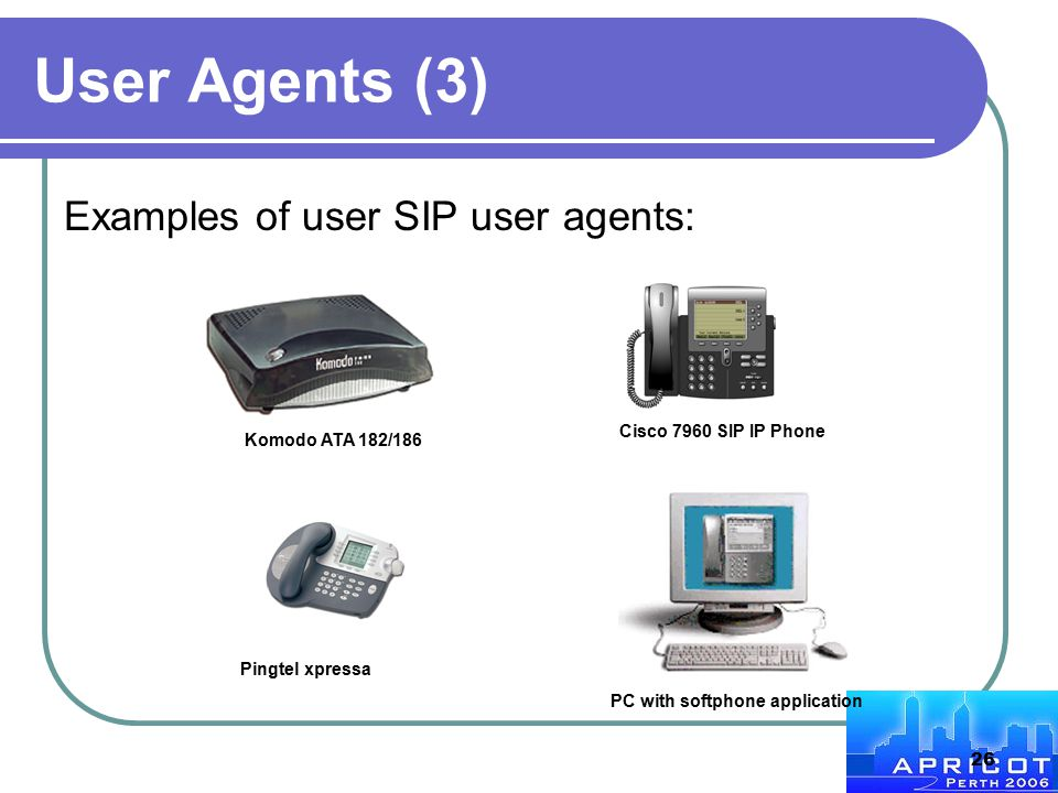 26 User Agents (3) Examples of user SIP user agents: Pingtel xpressa PC with softphone application Komodo ATA 182/186 Cisco 7960 SIP IP Phone
