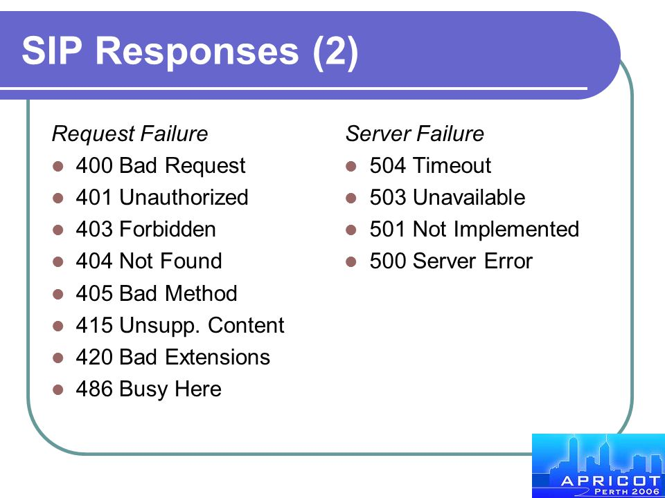 SIP Responses (2) Request Failure 400 Bad Request 401 Unauthorized 403 Forbidden 404 Not Found 405 Bad Method 415 Unsupp. Content 420 Bad Extensions 4
