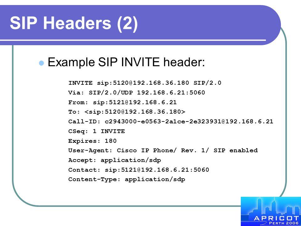 SIP Headers (2) Example SIP INVITE header: INVITE sip:5120@192.168.36.180 SIP/2.0 Via: SIP/2.0/UDP 192.168.6.21:5060 From: sip:5121@192.168.6.21 To: C