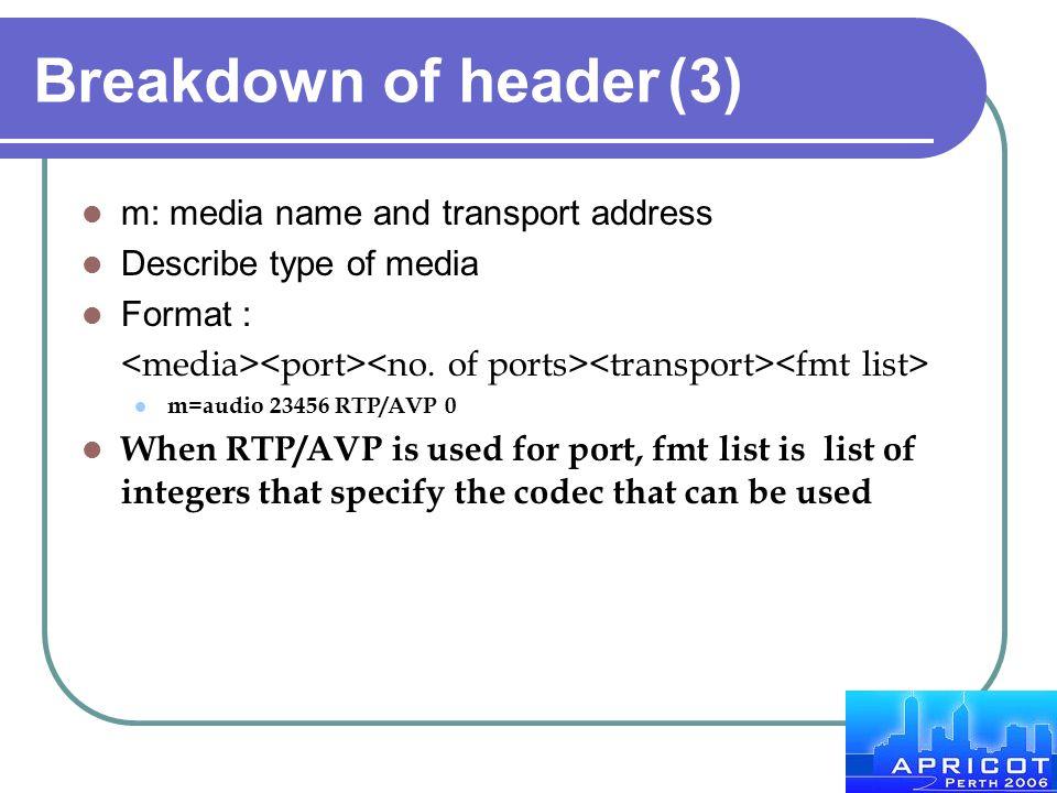Breakdown of header(3) m: media name and transport address Describe type of media Format : m=audio 23456 RTP/AVP 0 When RTP/AVP is used for port, fmt