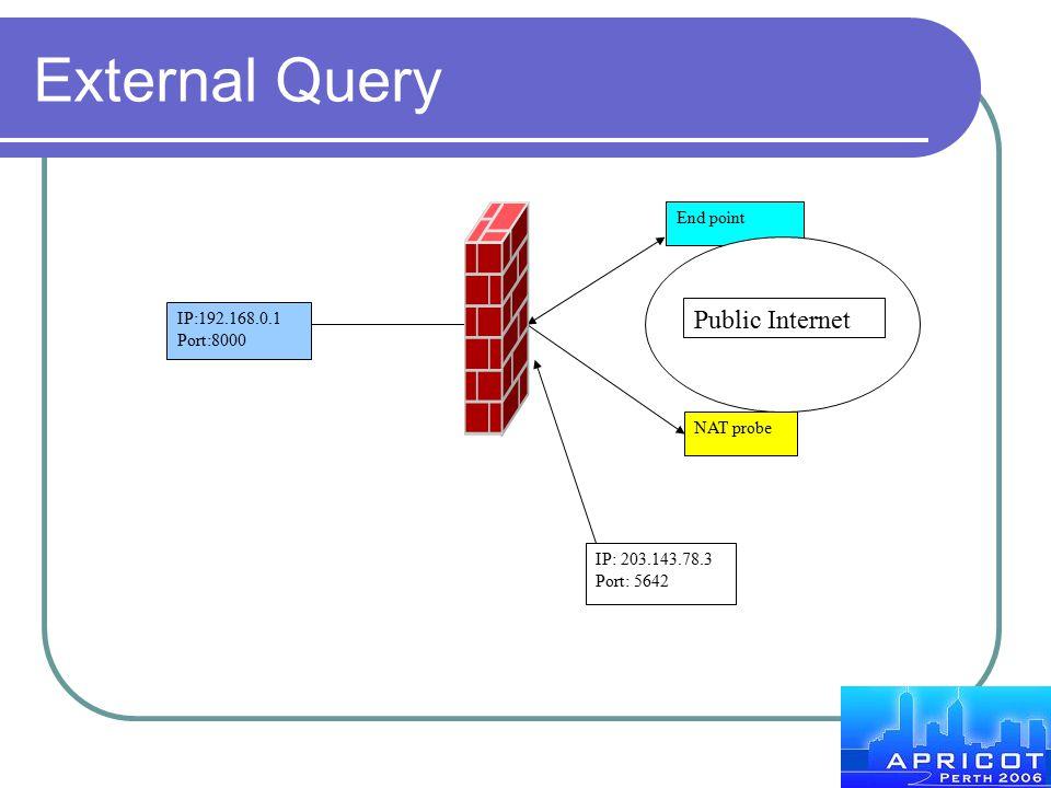 External Query IP:192.168.0.1 Port:8000 End point NAT probe Public Internet IP: 203.143.78.3 Port: 5642