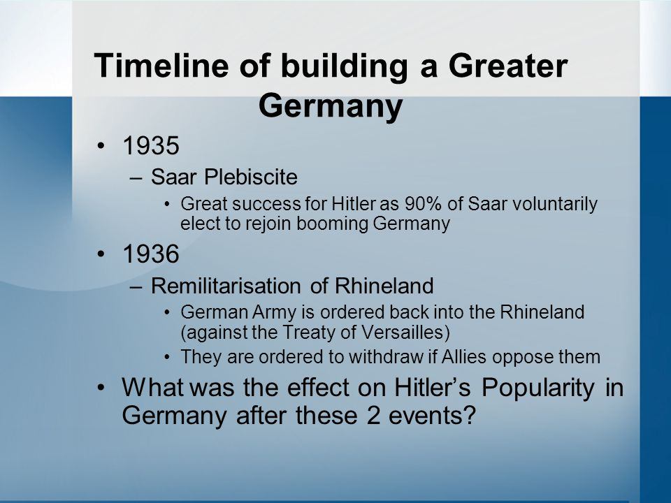 Timeline of building a Greater Germany 1935 –Saar Plebiscite Great success for Hitler as 90% of Saar voluntarily elect to rejoin booming Germany 1936 –Remilitarisation of Rhineland German Army is ordered back into the Rhineland (against the Treaty of Versailles) They are ordered to withdraw if Allies oppose them What was the effect on Hitler's Popularity in Germany after these 2 events