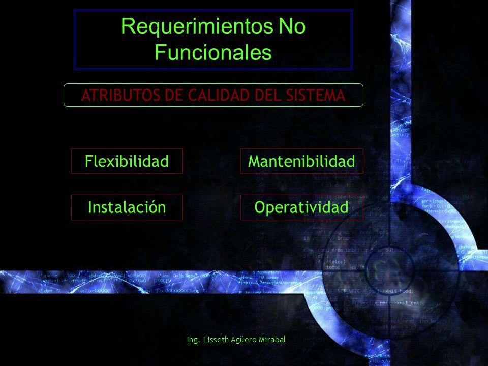 Ing. Lisseth Agüero Mirabal Requerimientos No Funcionales ATRIBUTOS DE CALIDAD DEL SISTEMA Flexibilidad Instalación Mantenibilidad Operatividad