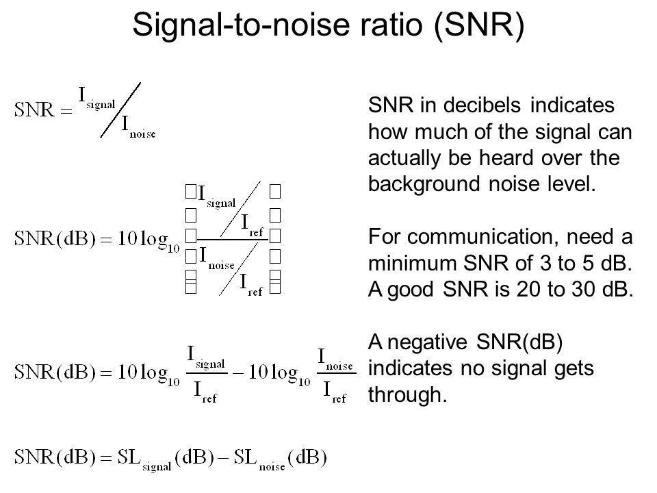Signal-to-noise ratio (SNR) SNR in decibels indicates how much of the signal can actually be heard over the background noise level.
