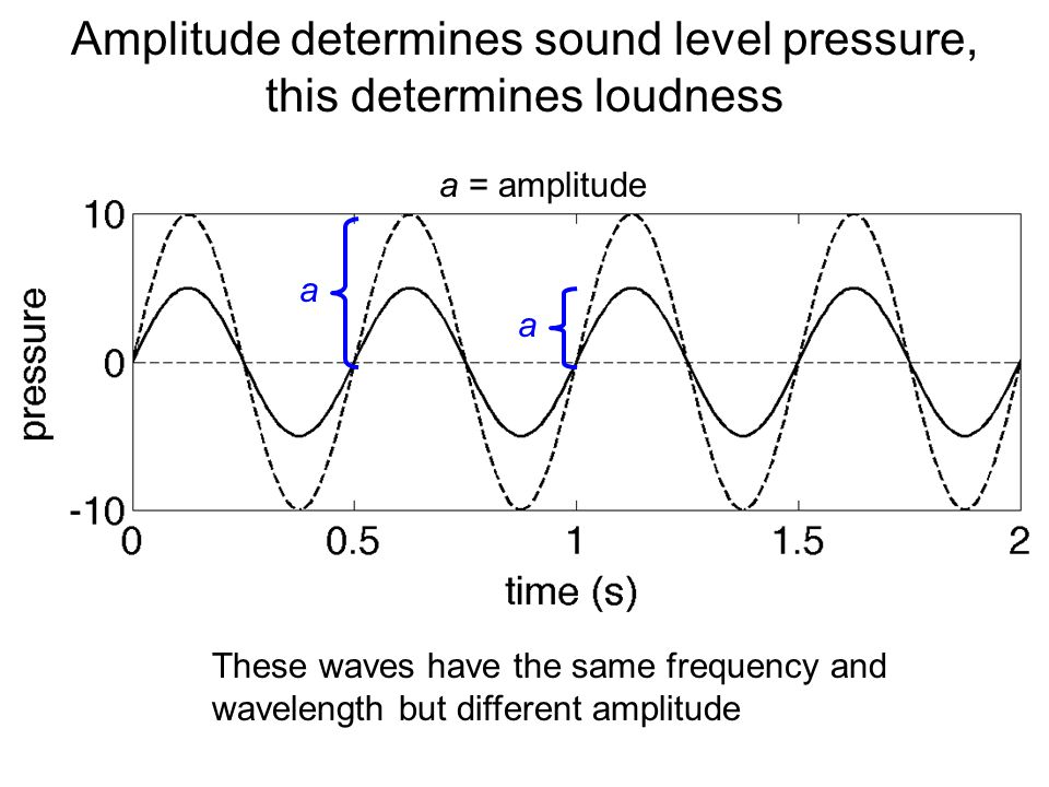 Loudness (Amplitude, sound level) SL(dB)=20 log 10 (P/P ref ) SL(dB)=10 log 10 (I/I ref ) Chart shows loudness in dB of some familiar sounds Sound levels in air and water have different reference levels, so 0 dB (air) ≈ 26 dB (water)