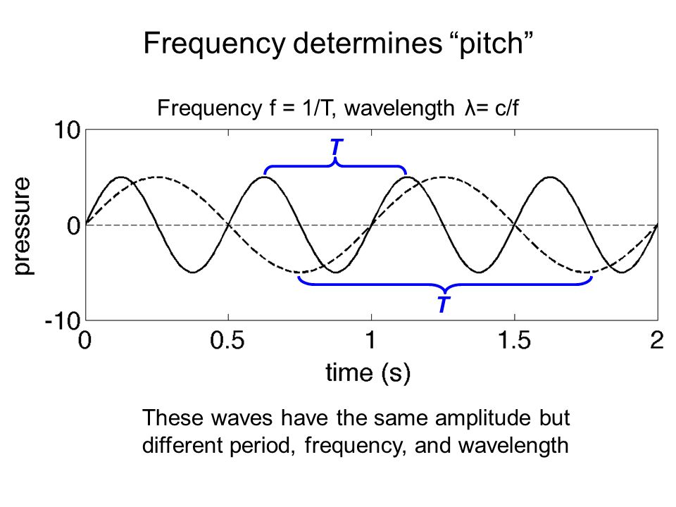 Frequency determines pitch T T These waves have the same amplitude but different period, frequency, and wavelength Frequency f = 1/T, wavelength λ= c/f