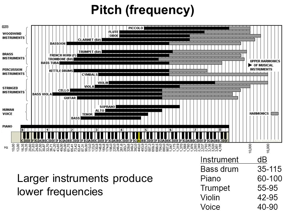 Larger instruments produce lower frequencies Pitch (frequency) Instrument dB Bass drum35-115 Piano 60-100 Trumpet55-95 Violin42-95 Voice40-90