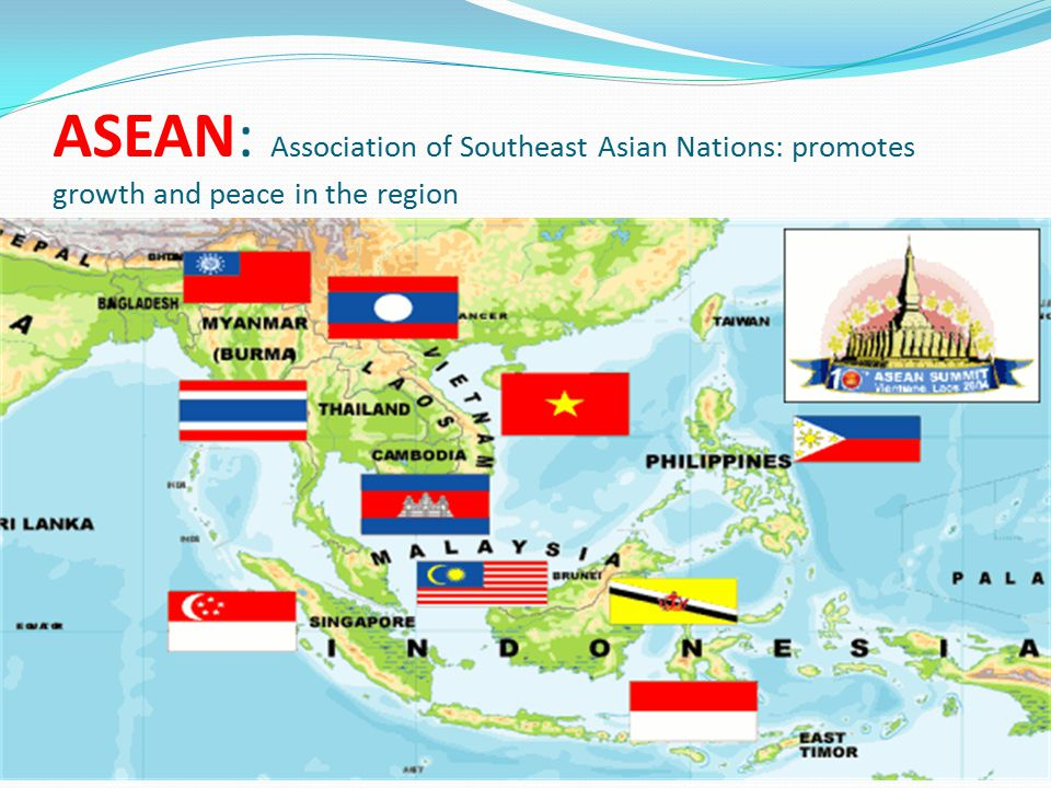 ASEAN: Association of Southeast Asian Nations: promotes growth and peace in the region