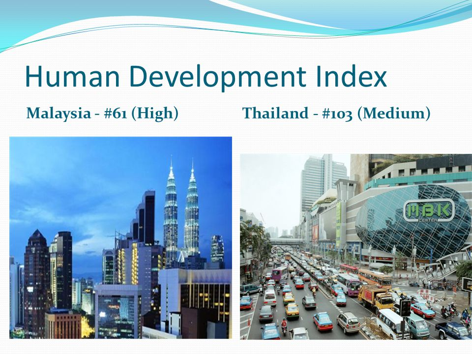 Human Development Index Malaysia - #61 (High) Thailand - #103 (Medium)