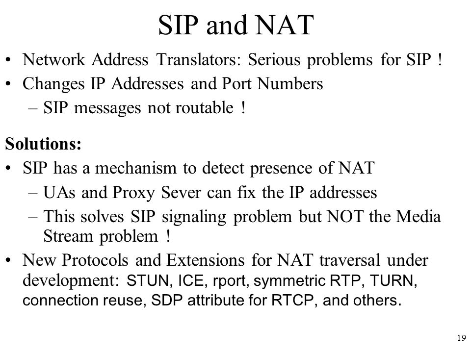 19 SIP and NAT Network Address Translators: Serious problems for SIP .