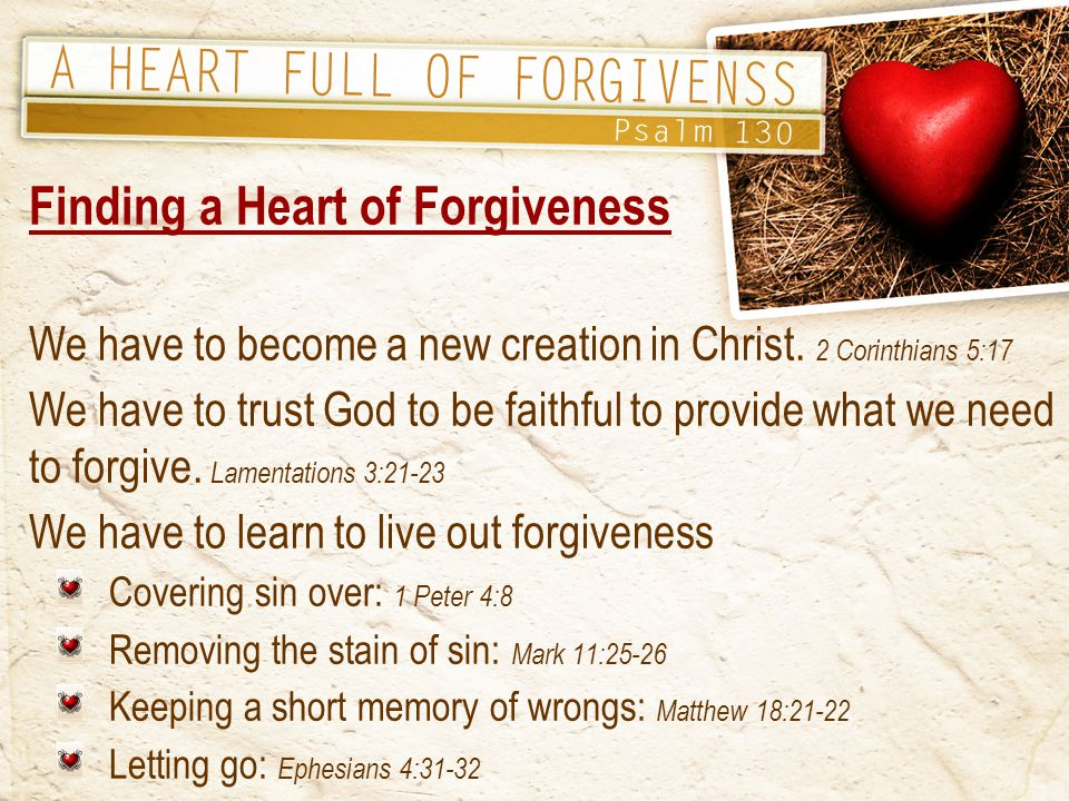 Finding a Heart of Forgiveness We have to become a new creation in Christ.