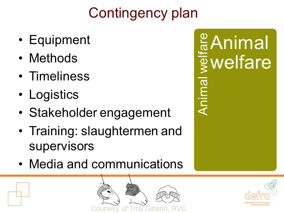 Contingency plan Equipment Methods Timeliness Logistics Stakeholder engagement Training: slaughtermen and supervisors Media and communications Animal welfare Courtesy of Troy Gibson, RVC