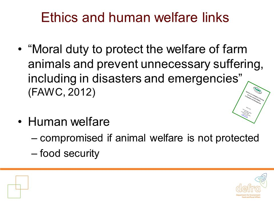Ethics and human welfare links Moral duty to protect the welfare of farm animals and prevent unnecessary suffering, including in disasters and emergencies (FAWC, 2012) Human welfare –compromised if animal welfare is not protected –food security
