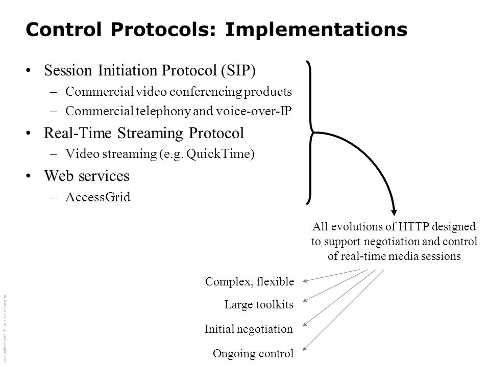 Copyright © 2005 University of Glasgow Control Protocols: Implementations Session Initiation Protocol (SIP) –Commercial video conferencing products –Commercial telephony and voice-over-IP Real-Time Streaming Protocol –Video streaming (e.g.
