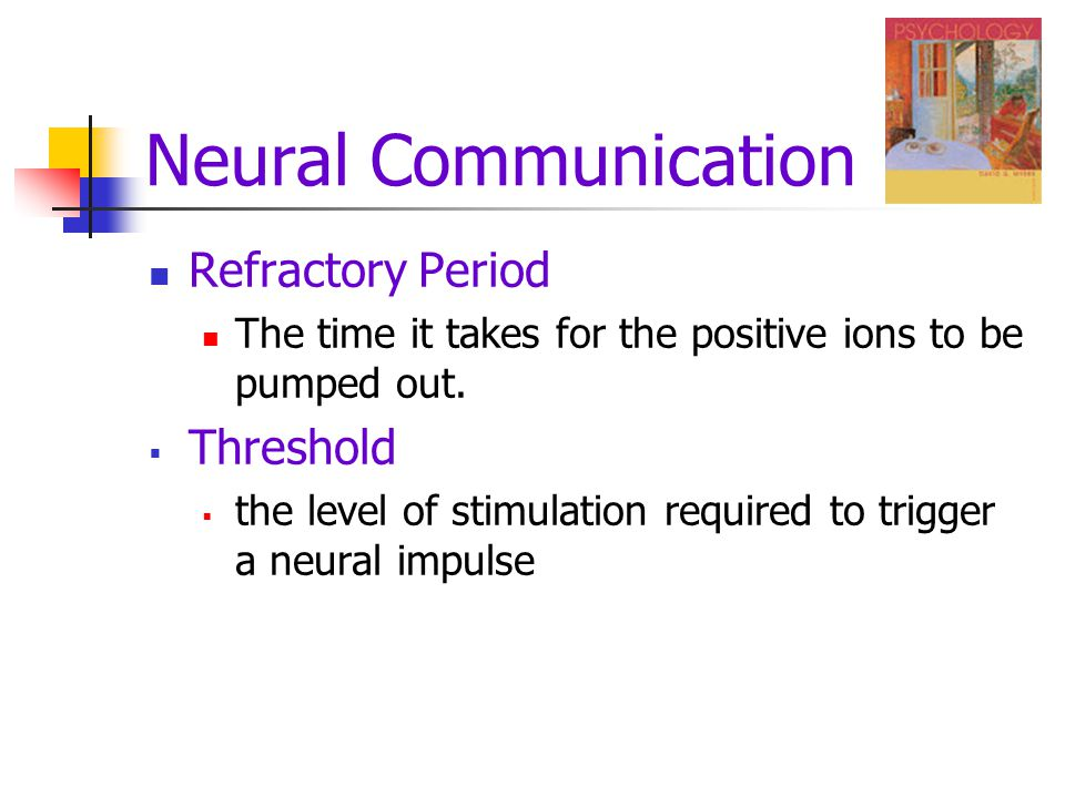 Neural Communication Refractory Period The time it takes for the positive ions to be pumped out.  Threshold  the level of stimulation required to tr