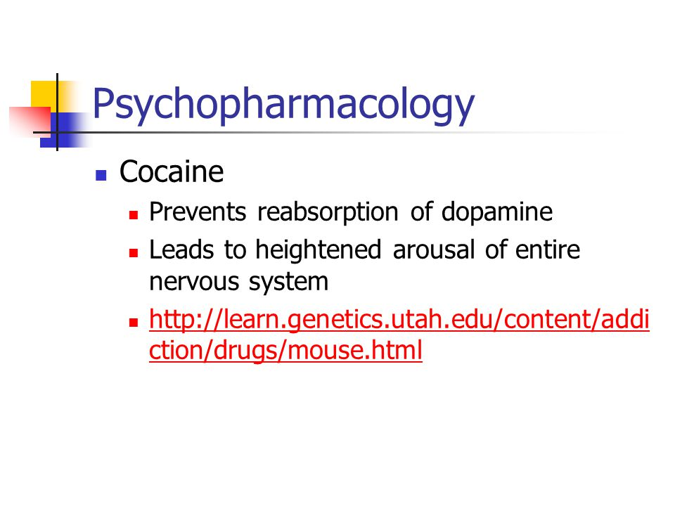 Psychopharmacology Cocaine Prevents reabsorption of dopamine Leads to heightened arousal of entire nervous system http://learn.genetics.utah.edu/conte