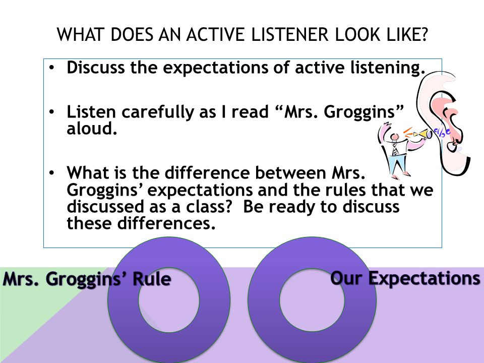 """WHAT DOES AN ACTIVE LISTENER LOOK LIKE? Discuss the expectations of active listening. Listen carefully as I read """"Mrs. Groggins"""" aloud. What is the di"""