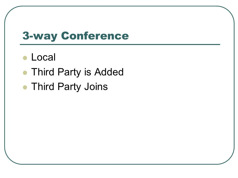 3-way Conference Local Third Party is Added Third Party Joins