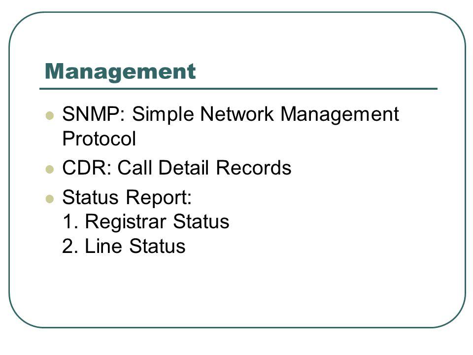 Management SNMP: Simple Network Management Protocol CDR: Call Detail Records Status Report: 1. Registrar Status 2. Line Status