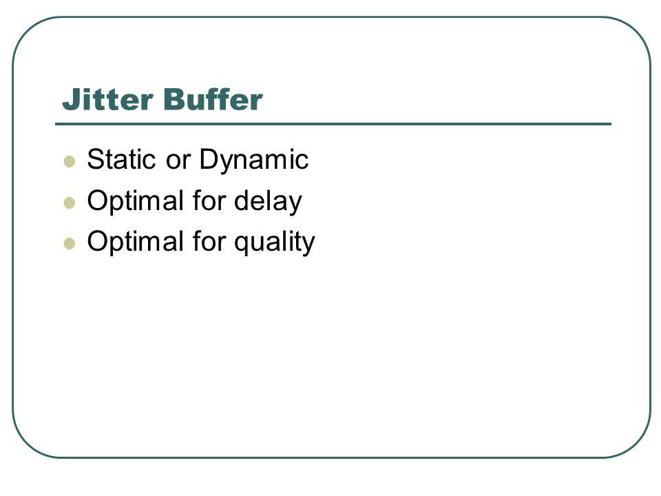 Jitter Buffer Static or Dynamic Optimal for delay Optimal for quality