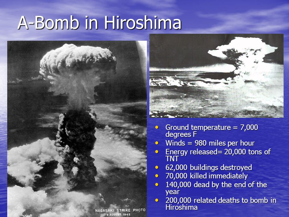 A-Bomb in Hiroshima Ground temperature = 7,000 degrees F Ground temperature = 7,000 degrees F Winds = 980 miles per hour Winds = 980 miles per hour Energy released= 20,000 tons of TNT Energy released= 20,000 tons of TNT 62,000 buildings destroyed 62,000 buildings destroyed 70,000 killed immediately 70,000 killed immediately 140,000 dead by the end of the year 140,000 dead by the end of the year 200,000 related deaths to bomb in Hiroshima 200,000 related deaths to bomb in Hiroshima