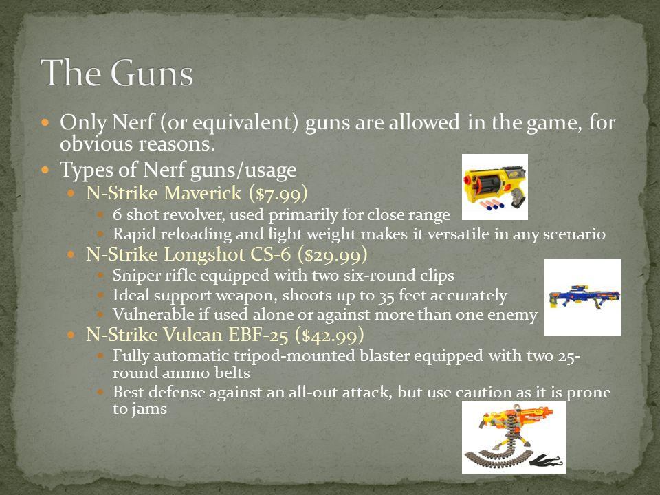 Only Nerf (or equivalent) guns are allowed in the game, for obvious reasons.