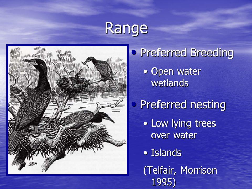 Range Preferred Breeding Preferred Breeding Open water wetlands Preferred nesting Preferred nesting Low lying trees over water Islands (Telfair, Morrison 1995)