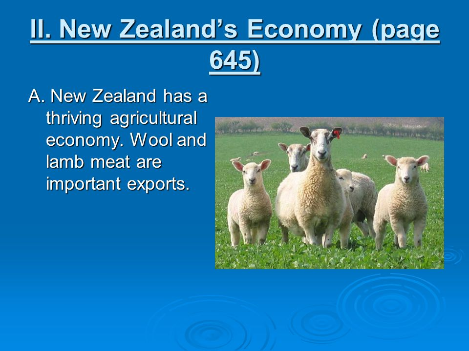 II. New Zealand's Economy (page 645) A. New Zealand has a thriving agricultural economy. Wool and lamb meat are important exports.