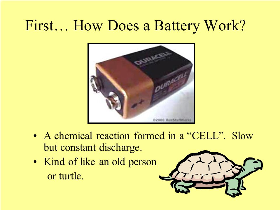 A battery is essentially a can full of chemicals that produce electrons – electrochemical reaction.