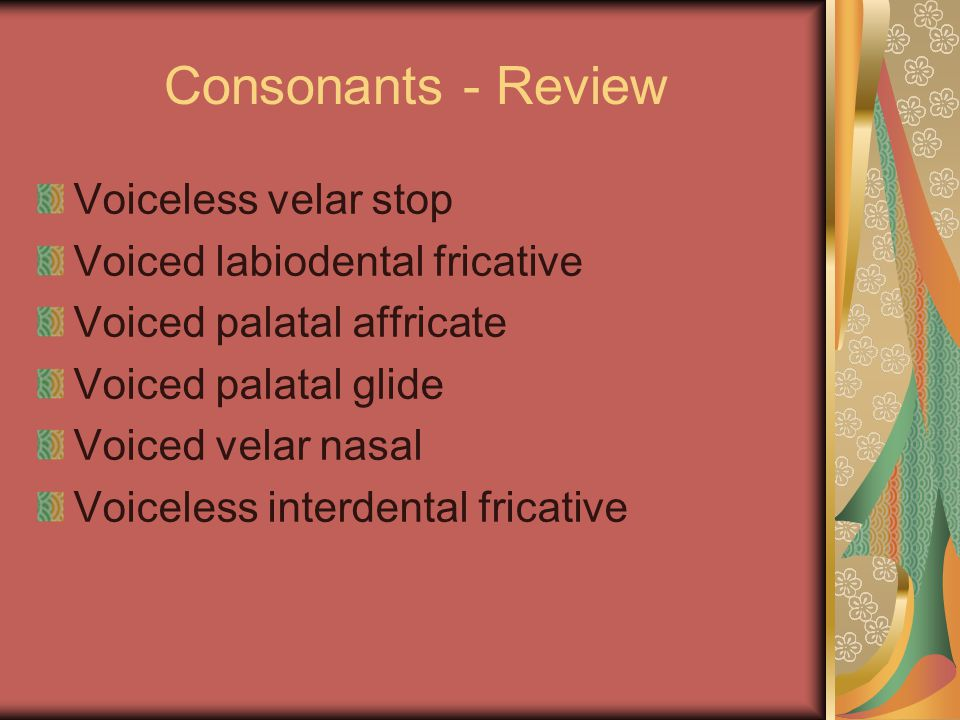 Consonants - Review Voiceless velar stop Voiced labiodental fricative Voiced palatal affricate Voiced palatal glide Voiced velar nasal Voiceless interdental fricative