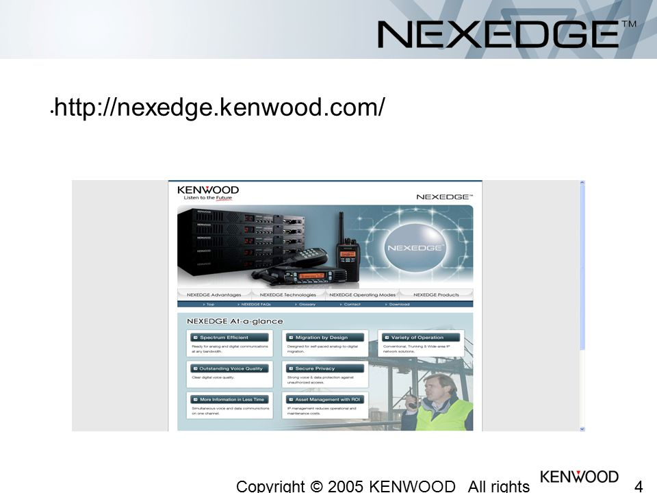 4242 Copyright © 2005 KENWOOD All rights reserved. May not be copied or reprinted without prior written approval. http://nexedge.kenwood.com/