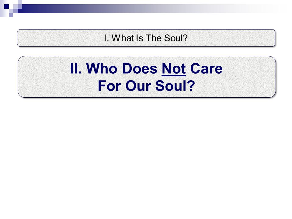 I. What Is The Soul II. Who Does Not Care For Our Soul