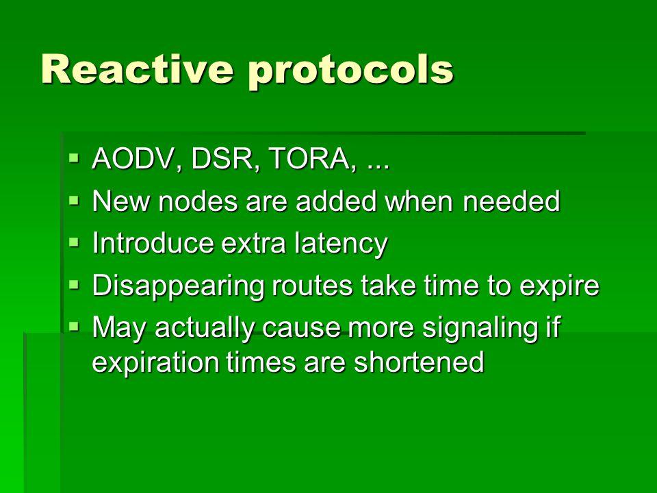 Reactive protocols  AODV, DSR, TORA,...
