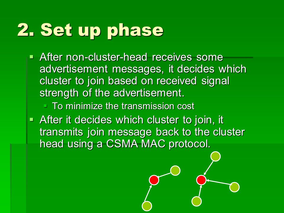 2. Set up phase  After non-cluster-head receives some advertisement messages, it decides which cluster to join based on received signal strength of t