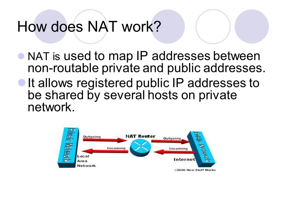 How does NAT work? NAT is used to map IP addresses between non-routable private and public addresses. It allows registered public IP addresses to be s
