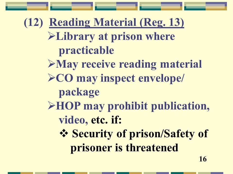 (12) Reading Material (Reg.