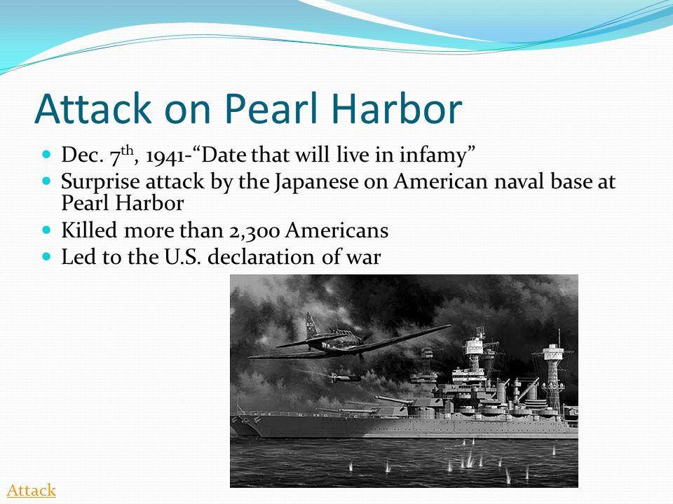 Attack on Pearl Harbor Dec.
