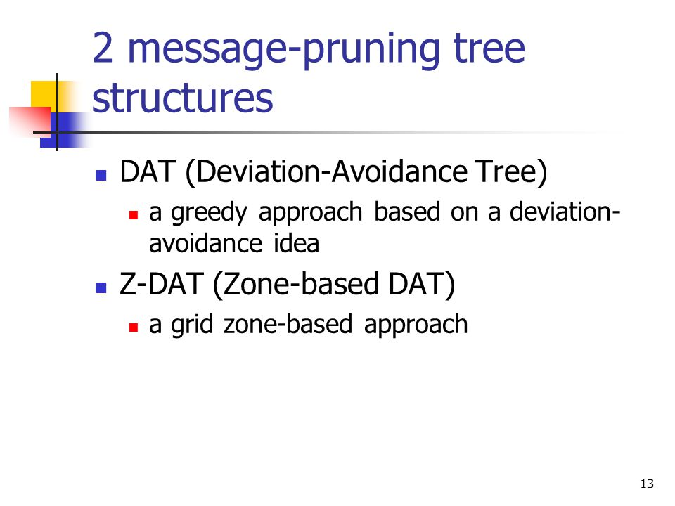 13 2 message-pruning tree structures DAT (Deviation-Avoidance Tree) a greedy approach based on a deviation- avoidance idea Z-DAT (Zone-based DAT) a grid zone-based approach