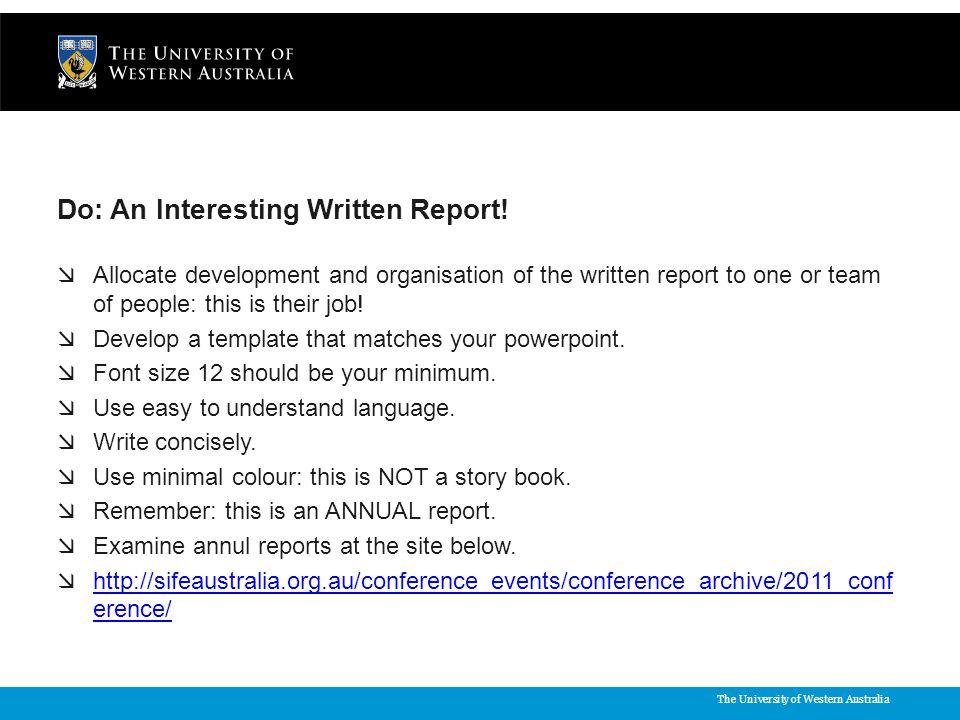 The University of Western Australia Do: An Interesting Written Report.