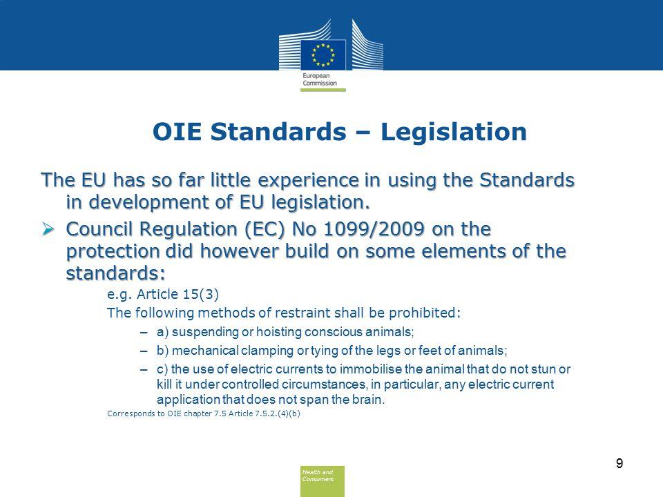 Health and Consumers Health and Consumers OIE Standards – Legislation The EU has so far little experience in using the Standards in development of EU legislation.