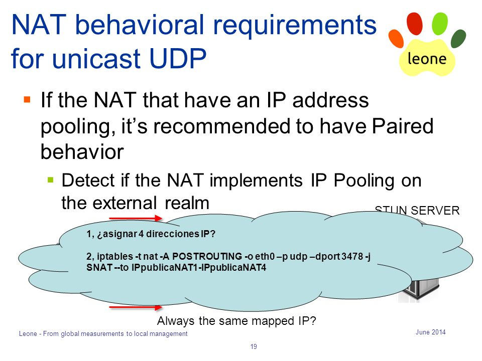 NAT behavioral requirements for unicast UDP  If the NAT that have an IP address pooling, it's recommended to have Paired behavior  Detect if the NAT