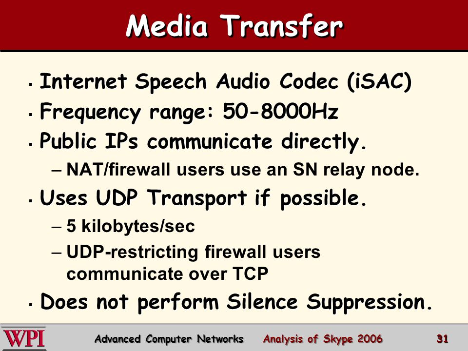 Media Transfer  Internet Speech Audio Codec (iSAC)  Frequency range: 50-8000Hz  Public IPs communicate directly.