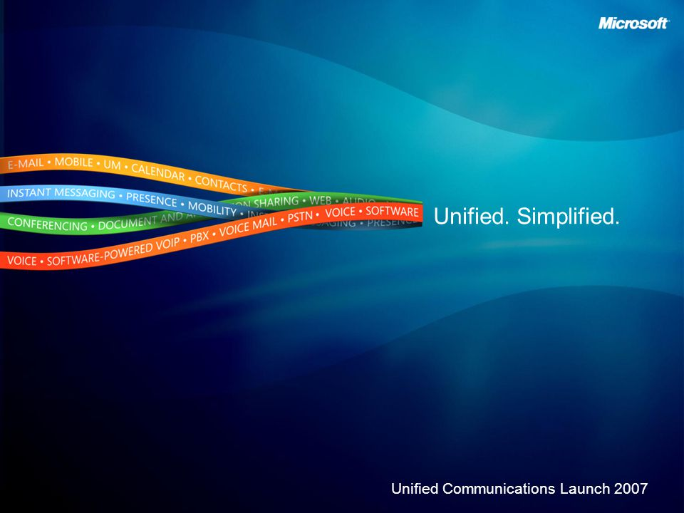 Unified. Simplified. Unified Communications Launch 2007