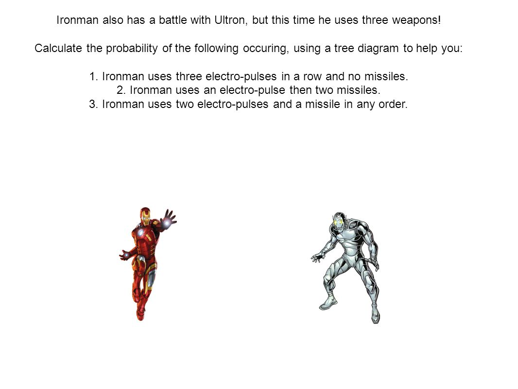 Ironman also has a battle with Ultron, but this time he uses three weapons.