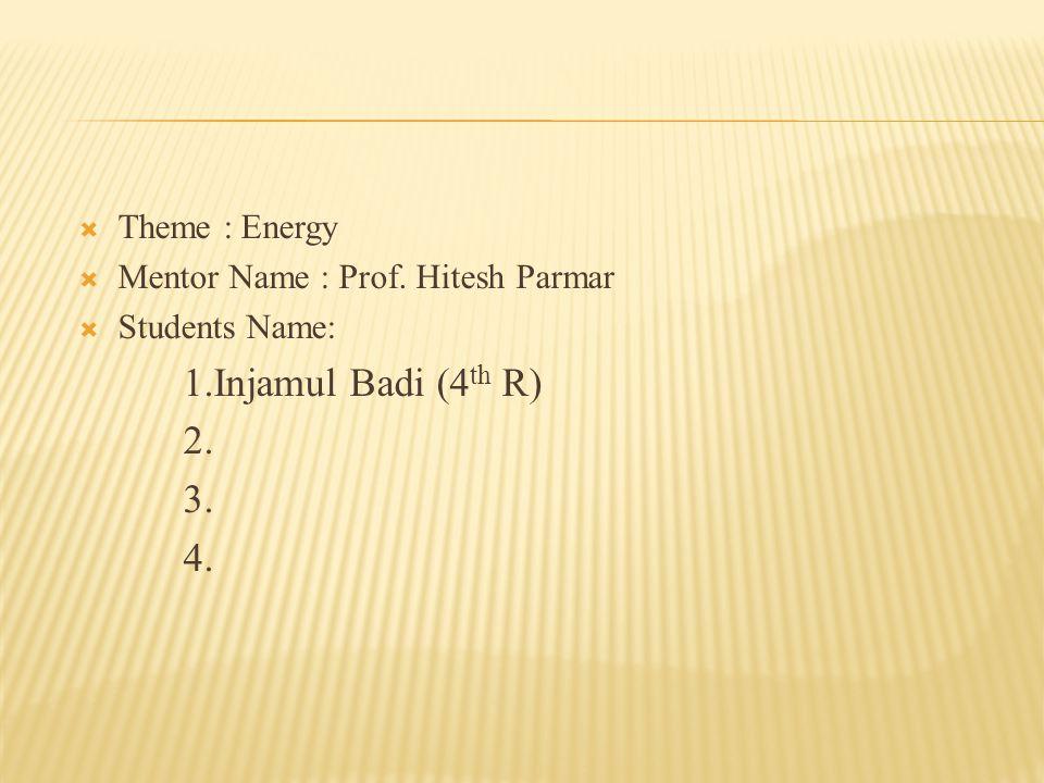  Theme : Energy  Mentor Name : Prof.Hitesh Parmar  Students Name: 1.Injamul Badi (4 th R) 2.