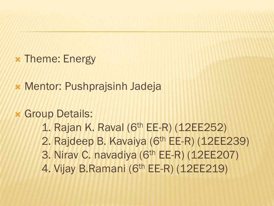  Theme: Energy  Mentor: Pushprajsinh Jadeja  Group Details: 1.
