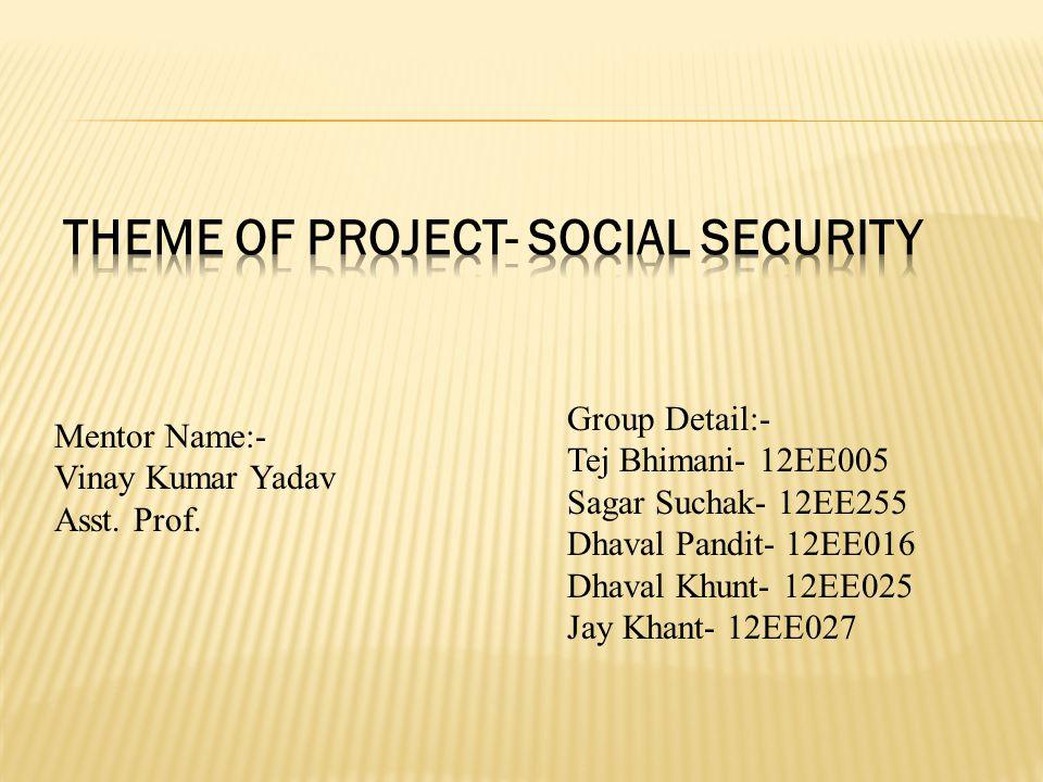 Group Detail:- Tej Bhimani- 12EE005 Sagar Suchak- 12EE255 Dhaval Pandit- 12EE016 Dhaval Khunt- 12EE025 Jay Khant- 12EE027 Mentor Name:- Vinay Kumar Yadav Asst.