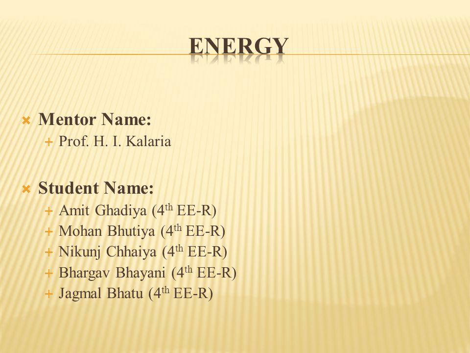  Mentor Name:  Prof.H. I.
