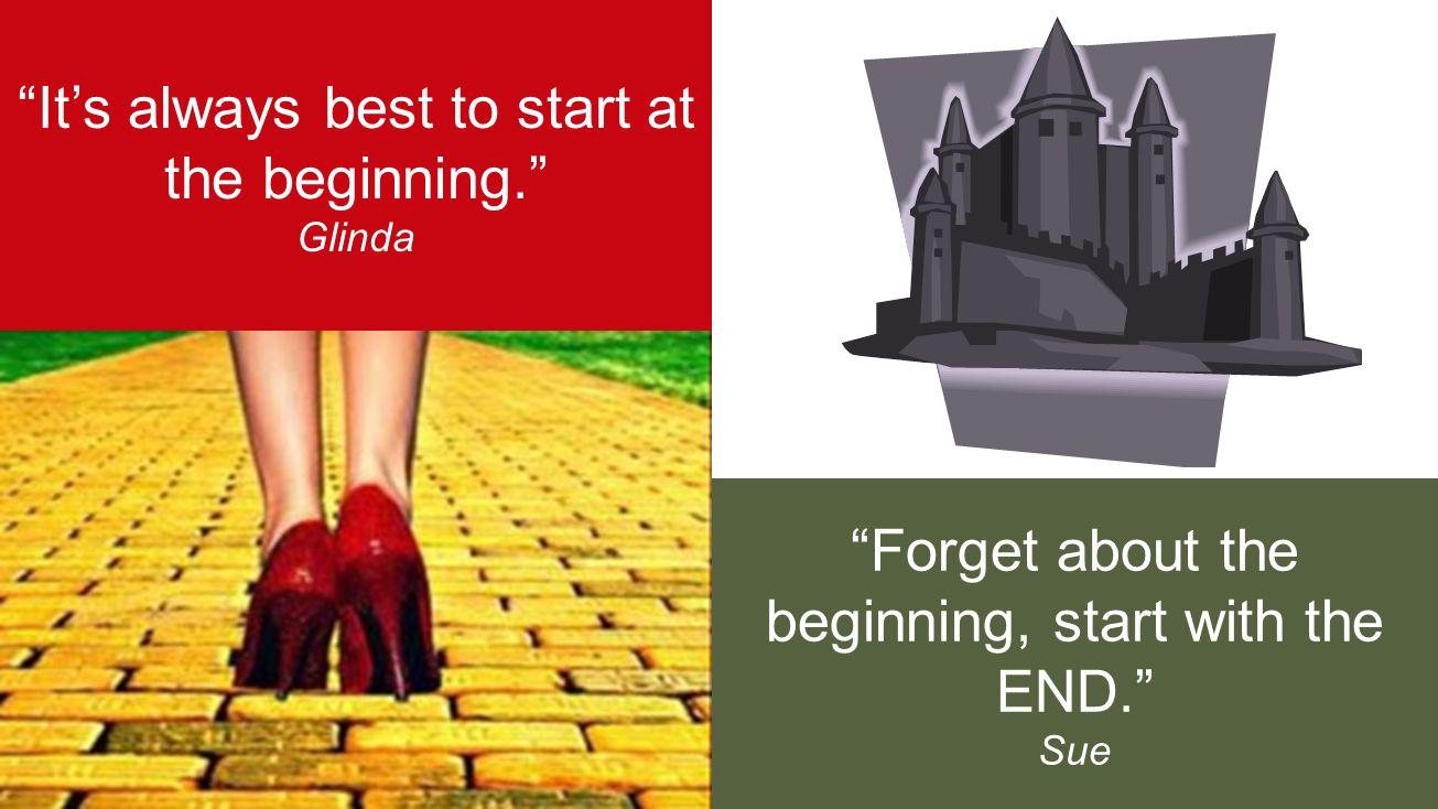 8 It's always best to start at the beginning. Glinda Forget about the beginning, start with the END. Sue